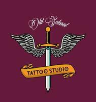 daga con alas tatuaje estudio gráfico vector