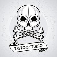 skull head with bones crossed and ribbon tattoo studio graphic vector