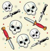 patrón de estudio de tatuajes de cráneos y dagas vector