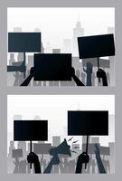 hands people protesting lifting banners and megaphone silhouettes scenes vector