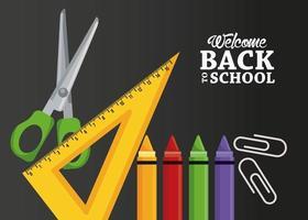 cartel de regreso a la escuela con crayones y artículos. vector