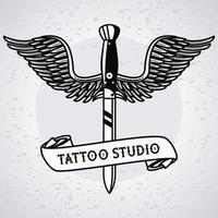 daga con alas fying tattoo studio graphic vector