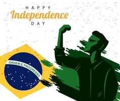 brazil happy independece day with flag and strong man celebrating vector