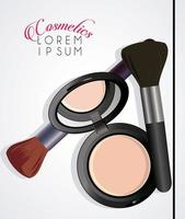 makeup cosmetics and lettering in white background vector