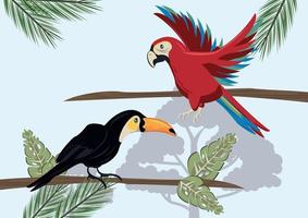 wild toucan and parrot birds flying in the jungle vector