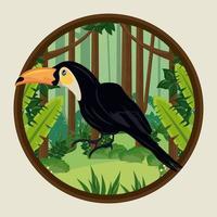 wild toucan bird animal in the jungle circular frame scene vector