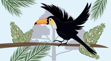 wild toucan animal bird flying in the jungle scene vector