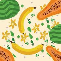fresh local fruits with bananas and papayas pattern vector