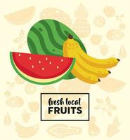 fresh local fruits lettering with watermelon and banana vector
