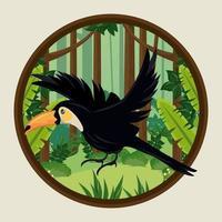 wild toucan bird flying in the jungle circular frame vector