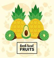 fresh local fruits lettering and pineapple with fruits vector