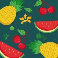 fresh local fruits with pineapples and watermelons in green background vector