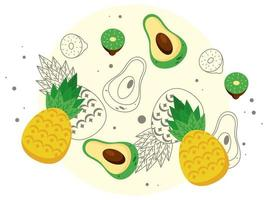 fresh local fruits with pineapples and fruits pattern vector