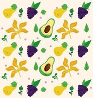 fresh local fruits with avocados and grapes pattern vector