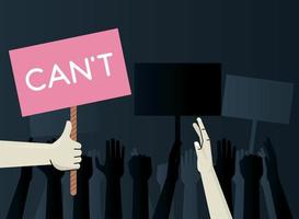 hands human protesting lifting banner with cant word vector