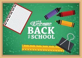 cartel de regreso a la escuela con pizarra y cuaderno vector