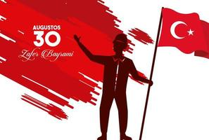 zafer bayrami celebration with soldier lifting flag vector