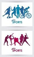 Cartel de tiempo deportivo con marcos de siluetas de atletas. vector