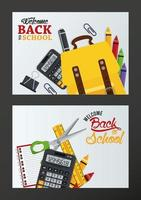 cartel de regreso a la escuela con marcos de suministros vector