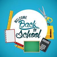 cartel de regreso a la escuela con pizarra y suministros marco circular vector