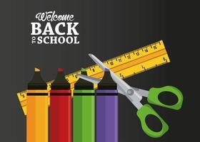 cartel de regreso a la escuela con crayones y útiles vector