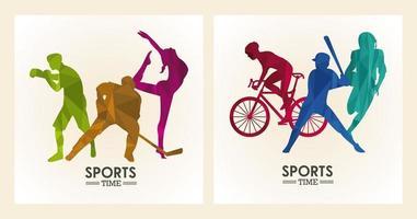 cartel de tiempo deportivo con atletas figuras siluetas marcos vector
