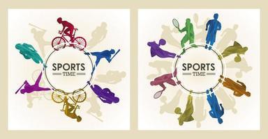 cartel de tiempo deportivo con figuras de atletas en marcos circulares. vector