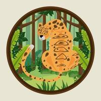 wild leopard in the jungle scene vector