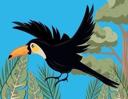 wild toucan bird flying in the jungle scene vector