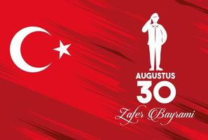 zafer bayrami celebration with soldier in flag vector