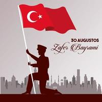 zafer bayrami celebration with soldier and turkey flag vector