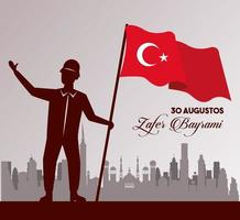zafer bayrami celebration with soldier and flag on the city vector