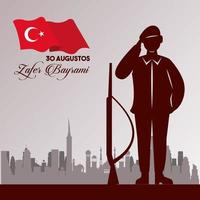 zafer bayrami celebration with soldier and weapon on the city vector