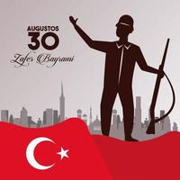 zafer bayrami celebration with soldier and weapon on the city waving flag vector