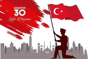 zafer bayrami celebration with turkey soldier and flag vector