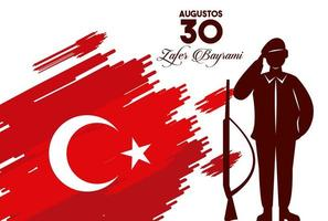zafer bayrami celebration with soldier and weapon in flag vector