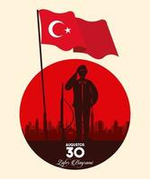 zafer bayrami celebration with soldier and flag silhouette vector