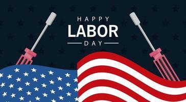 Feliz celebración del día del trabajo con la bandera de Estados Unidos y destornilladores vector
