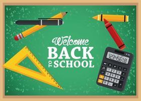 cartel de regreso a la escuela con pizarra y calculadora vector