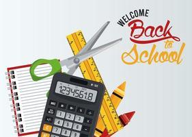 cartel de regreso a la escuela con calculadora y artículos vector