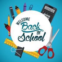 cartel de regreso a la escuela con calculadora y suministros marco circular vector