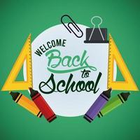cartel de regreso a la escuela con crayones y suministros marco circular vector
