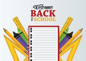 cartel de regreso a la escuela con cuaderno y útiles vector