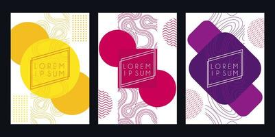 set colors and figures digital cover abstract background vector