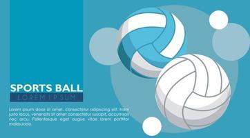 voleibol, deporte, globos, equipo, iconos vector