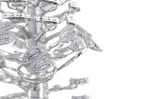 Silver rings with CZ baguette shape on casting tree photo