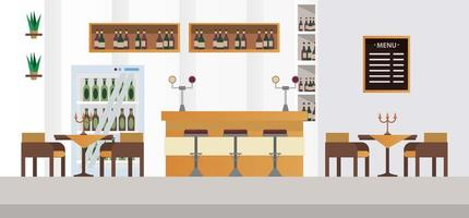 elegant tables and chairs with bar restaurant vector