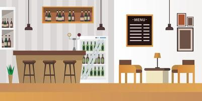 table and chairs with bar restaurant scene vector