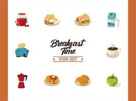 breakfast time lettering poster with bundle of ten ingredients vector