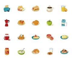 bundle of twenty breakfast ingredients set icons vector